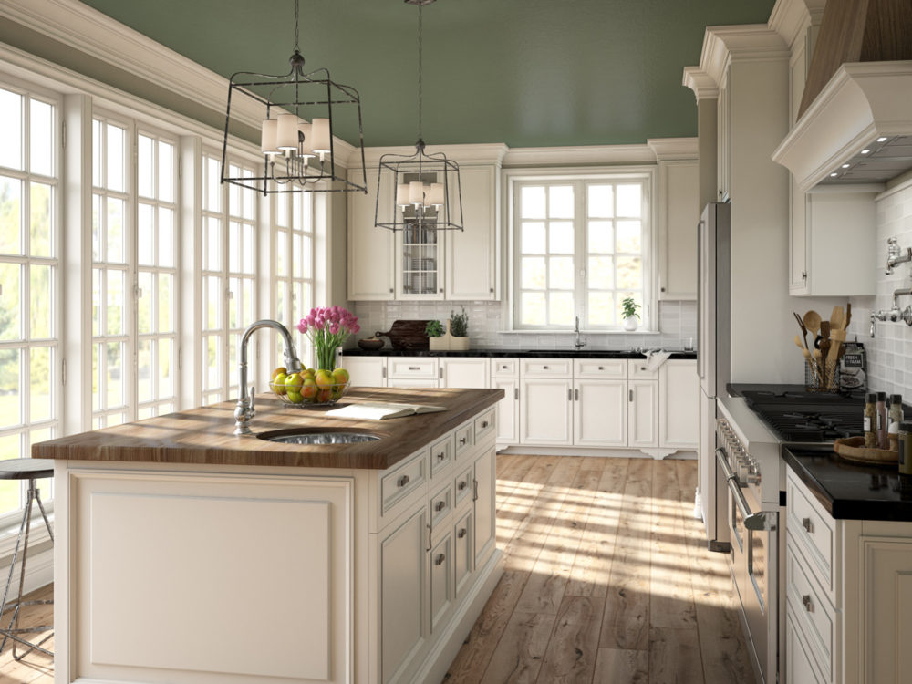 CGI Transitional Kitchen Featuring Wood Floor