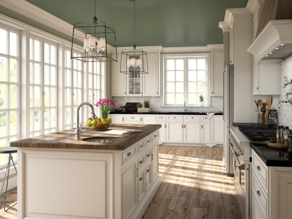 CGI Transitional Kitchen Featuring Wood Floor