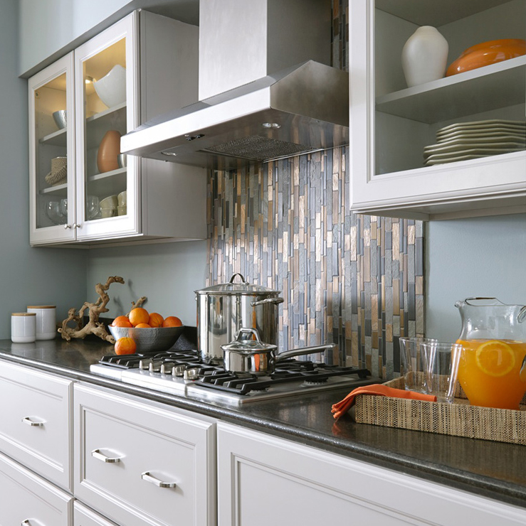 Copper and Grey Tile Backsplash