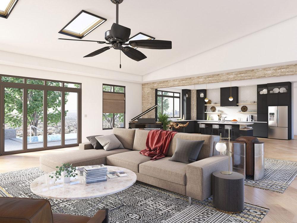 CGI Living Room Fan and Sofa