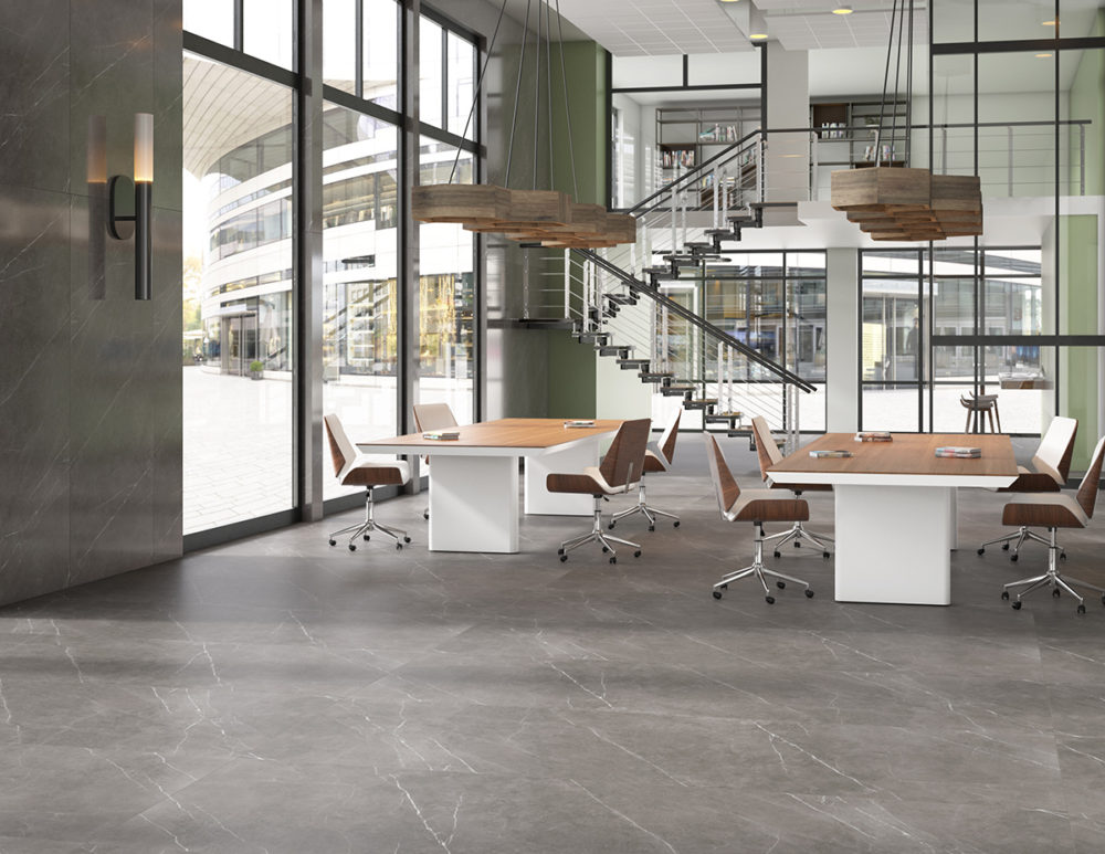 Contemporary Office Marble Look Flooring CGI